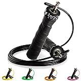 ZenRope - Speed Rope Springseil Sport mit GRATIS E-Book I Extra-Stahlseil, Tasche & Einstiegsguide I Rope Skipping Seil High Speed Workout Springschnur (Schwarz)