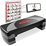 POWRX Steppbrett XL Premium extra groß inkl. Workout I 3-Stufen höhenverstellbar I Home-Stepper Stepbench Aerobic Steppbank