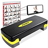 POWRX Steppbrett inkl. Workout I Aerobic Stepper höhenverstellbar I Home Step Stepbench Gymnastik