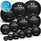 C.P. Sports Medizinball Leder Braun oder Schwarz K5, Gewichtsball, Medizinbälle, Crossfit Ball - 1kg - 15kg